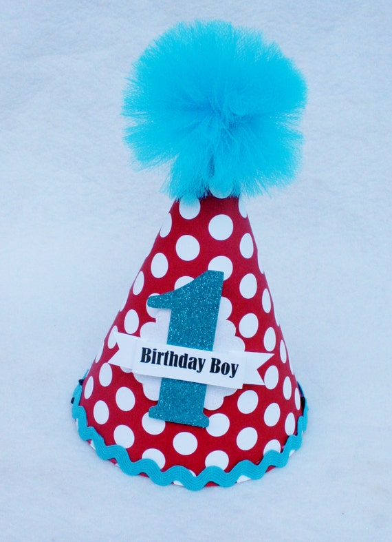 Boys Red and Turquoise Dr. Seuss Birthday Party Hat