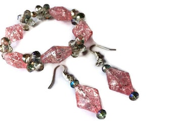 Bracelet and dangle earring set sparkly pink cracked ice and smokey crystals acrylic prom