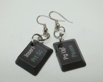 upcycled dark grey computer keys earrings ecofriendly, Insert and Pg Up keys