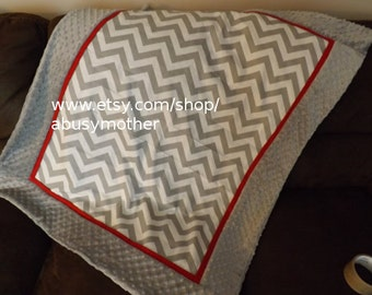 Baby blanket gray and red chevron minky dot