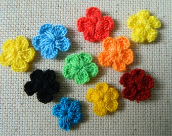 10 pieces - Little Coloured Flowers - Crochet