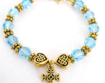 Aquamarine SWAROVSKI Crystal Single Decade Irish ROSARY Celtic Knot Bracelet- Ireland Bracelet