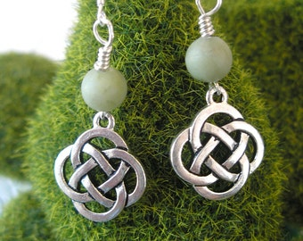 CONNEMARA Marble Silver CELTIC Knot IRISH Earrings Irish Marble Earrings- Ireland Jewelry