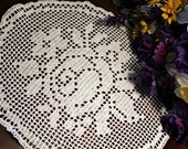Lovely oval Rose Crochet  doily
