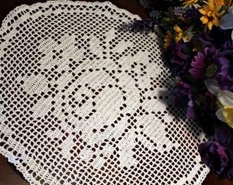 Lovely oval Rose Crochet  doily