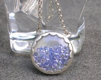Tanzanite Silver Necklace - Snow Globe Necklace - Tanzanite Shaker Necklace - Gem Shaker Necklace -Periwinkle Blue Tanzanite Silver Pendant