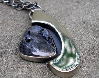 Larvikite Necklace - Blue Stone Sterling Silver Pendant - Blue Flash Stone Modern Necklace - Blue Grey Bezel Set Cabochon Silver Pendant