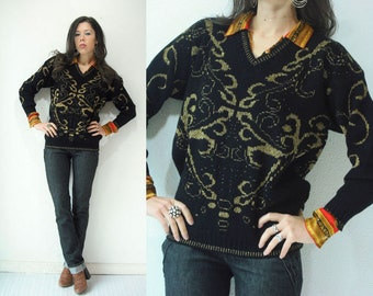 80's Vintage Black and Gold Sparkly Metallic V Neck Sweater Jumper / Damask Print Ugly Christmas Sweater