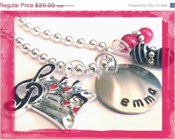 Sheet Music Charm Necklace - Hand Stamped and Personalized #M111