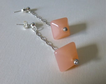 Blush Pink Vintage Lucite Bead and Silver Dangle Earrings
