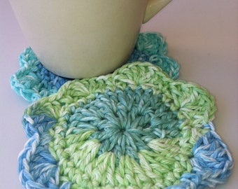 Coaster, Cozy, Mug Rug, Pretty Blue and Green Mix