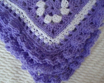 Purple and White Baby Afghan for Little Girls and Babies