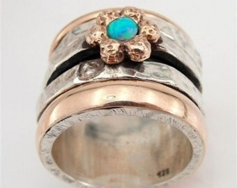 Jewela sterling silver integrated 9K rose gold  inlaid opal band size 8 (d r1001)