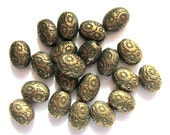 30 Antique bronze beads oval embossed tibetan style boho chic 8mm 6mm no lead no nickel F0559