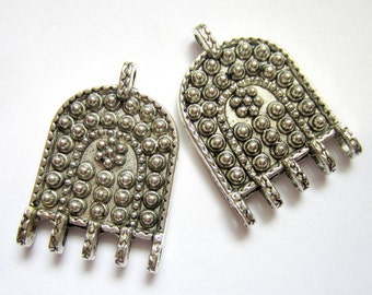 6 Ethnic earring chandeliers antique silver metal jewelry findings 24.5mm x 36.5mm Zi167 (G9)