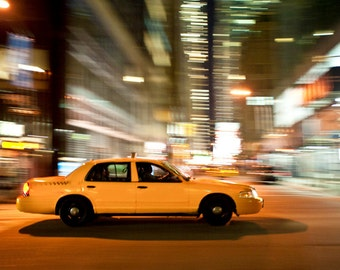 Taxi Photograph New York Photography Yellow Cab Manhattan Photo nyc Urban Street Scene Night City nyc56