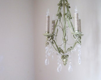 Mossy Creek Handpainted VIntage Patina 4 Candle Chandelier MADE TO ORDER