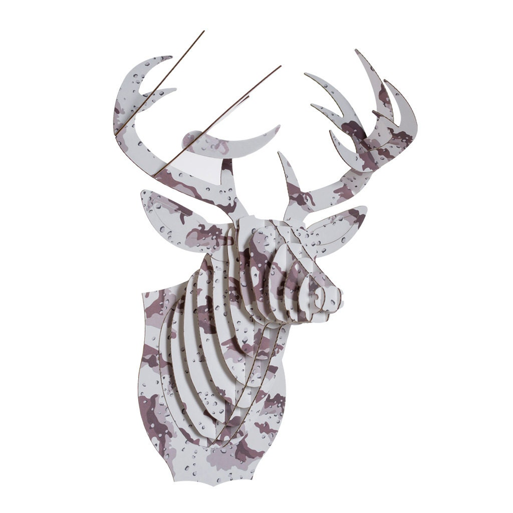 Camo Print Buck Jr Medium Cardboard Deer Head By Cardboardsafari