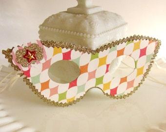 Retro Circus Harlequin Diamond Pattern Masquerade Mask Gold and Pastel Tones