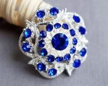5 Dark Royal Blue Rhinestone Button Crystal Embellishment Wedding Brooch Bouquet Cake Hair Comb Shoe Clip BT517