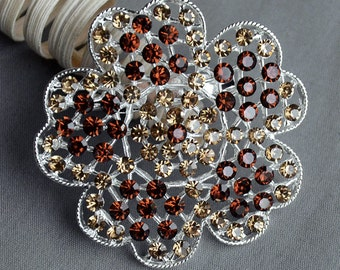 Rhinestone Brooch Crystal Chocolate Brown Topaz Citrine Brooch Bouquet Hair Pin Comb Shoe Clip Wedding Cake Invitation BR314