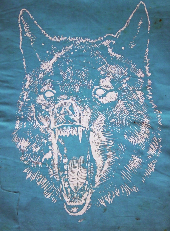 WOLF Back-Patch, White on Turquoise 50/50 Cotton/Poly Fabric, Beeswaxed cotton waterproofing