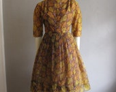 60s GOLDEN HARVEST poly chiffon cocktail dress size medium