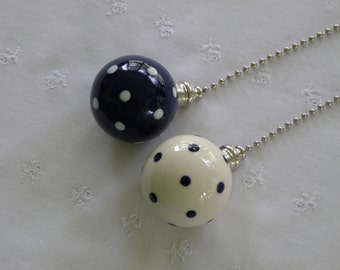 Set of Pottery Ceiling Fan/Light  Pulls - Ball Style - Navy (Cobalt Blue) and White Polka Dotted -  USA
