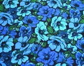 Vintage Fabric - Mod Poppy Flowers in Shades of Blue - By the Yard