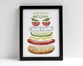 Chicago Hot Dog watercolor print