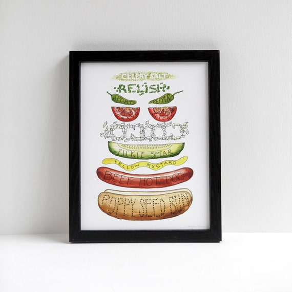 Chicago Hot Dog Diagram Watercolor print // hotdog