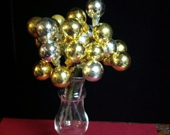 Vintage Gold and Silver Glass Christmas Ball Floral Picks Decoration (0-26)