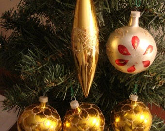 5 Glass Christmas Ball Ornaments from Columbia