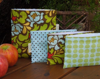 Reusable sandwich and/or snack bags of your choice - Reusable sandwich bag - Reuse snack bag - Pop garden with snack bag of your choice