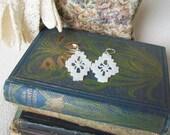Lace earrings Vintage lace fragment Brides jewelry Boho drop earrings Heirloom wedding accessory Bridal jewelry