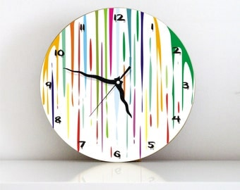 Dripping fresh paint colorful large unique kids bedroom living room kitchen decorative modern home decor graphic design wall clock
