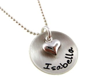 One Name with Puffy Heart - Sterling Silver Jewelry By Hannah Design
