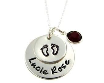 Hand Stamped Mommy Jewelry - Personalized Sterling Silver Necklace : Welcome Home New Baby Necklace