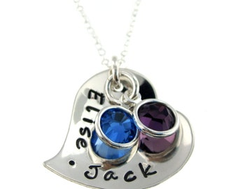 Hand Stamped Jewelry - Personalized Necklace With  Fancy Heart and Birthstone Crystals -
