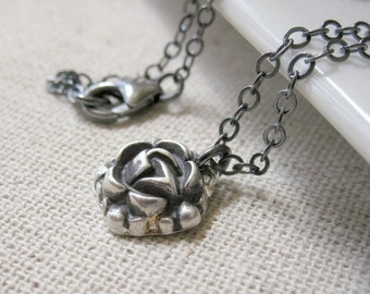 Silver Flower Necklace, Silver Rose Necklace, Artisan Pendant Necklace, PMC Fine Silver Jewelry, Silver Flower Pendant, Dainty Jewelry