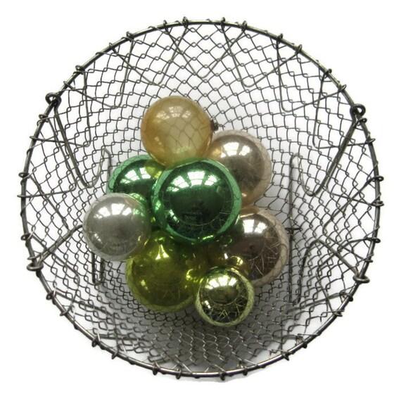 vintage french wire folding basket, mesh wire basket, kitchen basket, made in france, collapsible basket, wire, salad basket, lettuce dryer