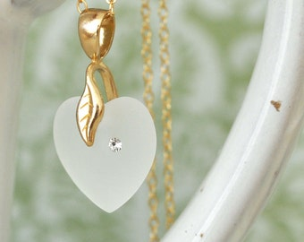 dainty everyday wear glass crystal heart necklace gold filled HEART NECKLACE