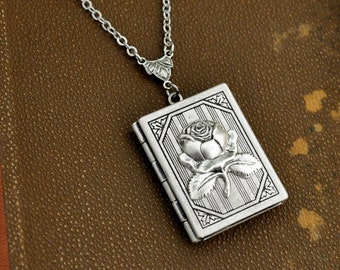 locket necklace, silver book locket, ROSE LOCKET, silver locket, flower locket, book locket, large pendant, long chain,