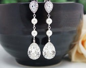 Wedding Bridal Jewelry Bridal Earrings Bridesmaid Earrings Cubic zirconia earrings with Swarovski Crystal and Pearls Tear drops (E-B-0007)