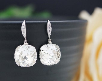 Wedding Jewelry Bridal Earrings Bridesmaid Earrings Dangle Earrings Clear White Swarovski Crystal Square drop Earrings