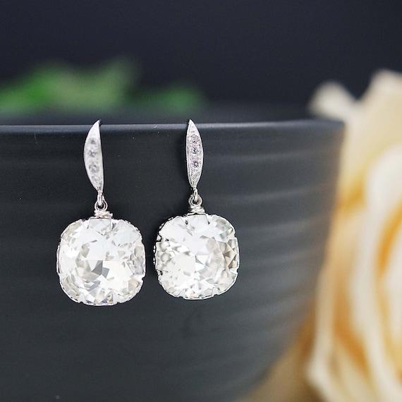 Wedding Jewelry Bridal Earrings Bridesmaid Earrings Dangle Earrings Clear White Swarovski Crystal Square drop Earrings