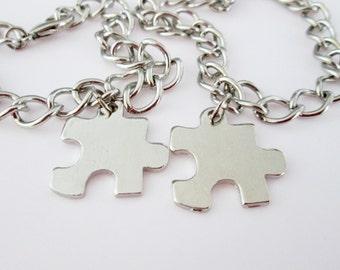 Silver Puzzle Piece Bracelets (E006). His and Hers Couple or Bestfriend Bracelets.