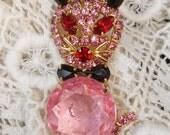 Juliana Style Pink, Red & Black Rhinestone Cat Pin Brooch