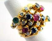 18k Multi Gemstone Diamonds RINGs Harem 5 Band Diamond Ruby Emerald Sapphire