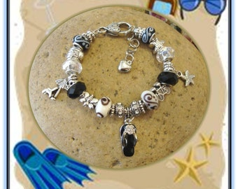 Beach Vacation - Black and White European Style Bracelet